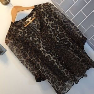 Joie silk leopard print blouse